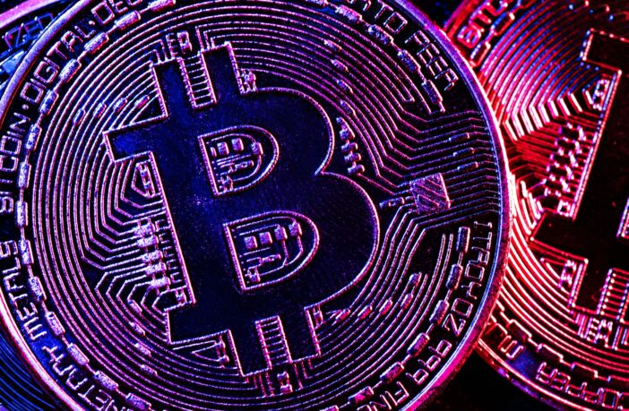Bitcoin coins in a mysterious lighting
