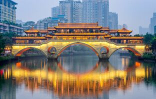 Chengdu, China River and Bridge